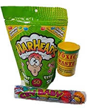 Sour Candy Warheads, Toxic Waste, Cry Baby Extra Sour Gum Super Sour Candy (Bundle of 3 Items)