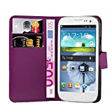 handy case samsung galaxy s3 mini - Cadorabo - Book Style Wallet Design for Samsung Galaxy S3 MINI / Value Edition (GT-i8190 / 8200) with 2 Card Slots and Stand Function - Etui Case Cover Protection Pouch in PASTEL-PURPLE