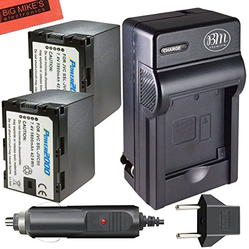 2 Pack of Replacement SSL-JVC50 Batteries and Battery Charger for JVC GY-HMQ10, GY-HM200, GY-LS300, GY-HM600, and GY-HM650 Broadcast Camcorders