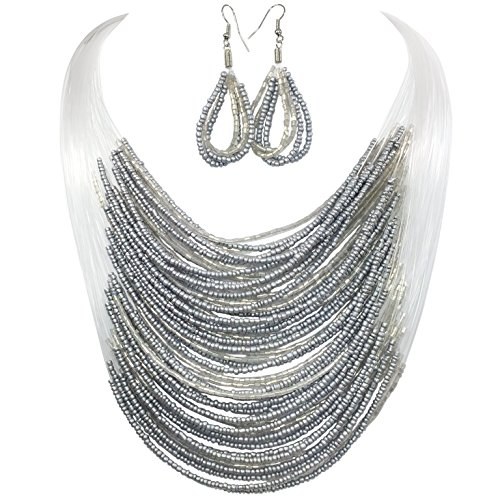 Gypsy Jewels Layered Seed Bead Illusion Thread Bib Statement Necklace & Dangle Earrings Set (Grey)