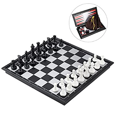 "iBaseToy Magnetic Travel Chess Set 3 in 1 Chess Checkers Backgammon Set for Adults Kids Folding Portable Chess Set Traditional Chess Game 9.8"" x 9.8"""