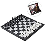 iBaseToy Magnetic Travel Chess Set 3 in 1 Chess Checkers Backgammon Set
