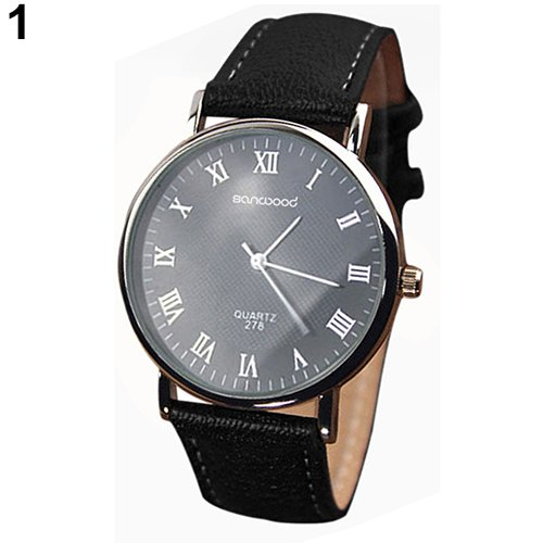 Business Men's Roman Numerals Faux Leather Band Quartz Analog Luxury (Roman Silver Bands)