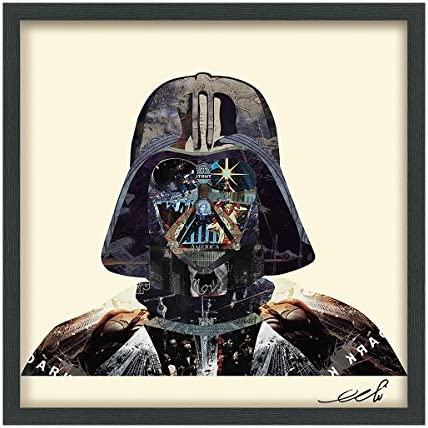 Empire Art Direct Star Wars Darth Vader Dimensional Collage Handmade by Alex Zeng Framed Graphic Famous Person Wall Art, 25 x 25 x 1.4 , Ready to Hang, Dark Side