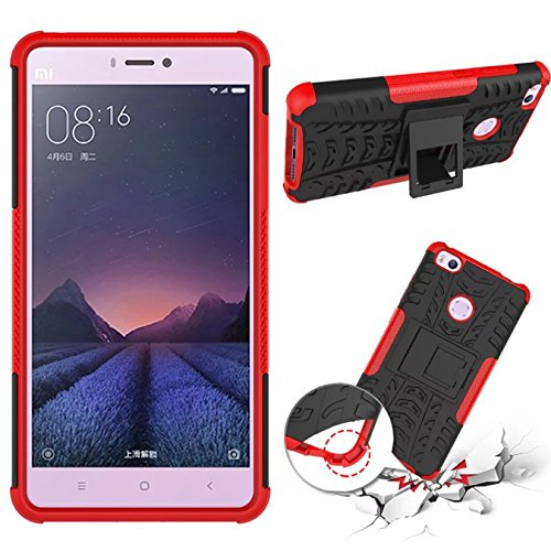 XiaoMi RedMi Note 4 Funda - Litastore TPU + PC Heavy Duty Antichoc Impact Robuste Armure Hybride Béquille sac Protecteur Housse pour XiaoMi RedMi Note 4 - Rojo Rojo