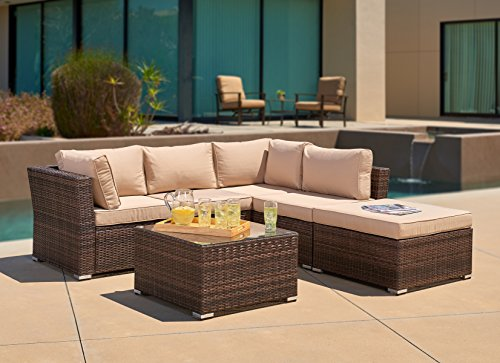 Ultra Poolside Cushion (Suncrown Outdoor Furniture Sectional Sofa (4-Piece Set) All-Weather Brown Checkered Wicker with Brown Washable Seat Cushions & Glass Coffee Table | Patio, Backyard, Pool | Waterproof Cover & Clips)