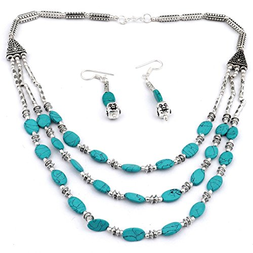 Awesome! Handmade Jewelry! Blue Turquoise Beads Sterling Silver Overlay Necklace with Earring ()