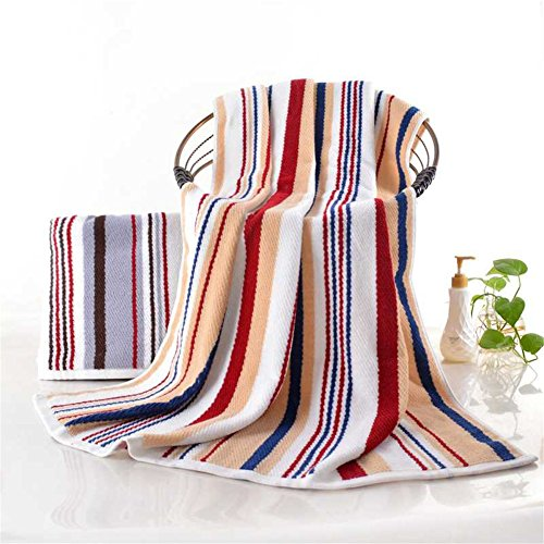 100% Cotton Oversized Large Beach Towel Red and Yellow Striped Pool Towel — Easy Care, Maximum Softness and Absorbency (35 x 70 inches) -