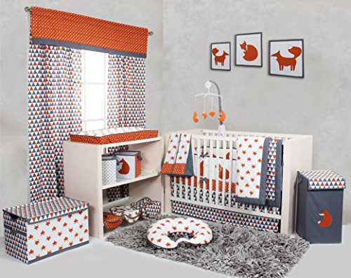 Bacati-Playful-Foxs-10-Piece-Crib-Set-Including-Bumper-Pad-OrangeGrey