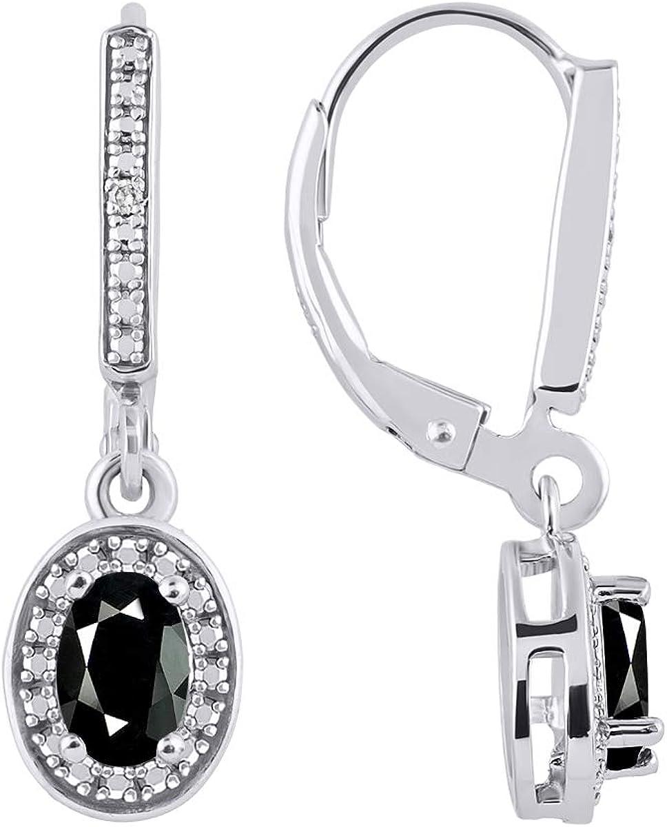 RYLOS - Pendientes de diseño de halo con gema ovalada y diamantes brillantes auténticos en oro blanco de 14 K - 6 x 4 mm piedra de color