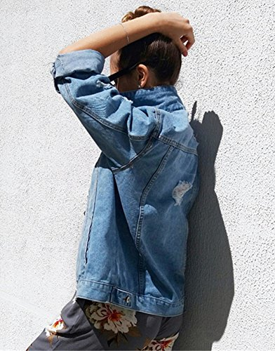 Sudaderas Larga Azul Suelto Denim Mujeres Manga Oscuro Cardigans Otoño Abrigo Béisbol Chaquetas Outwear Jacket Minetom Bf Mezclilla De xadPOqP8Y