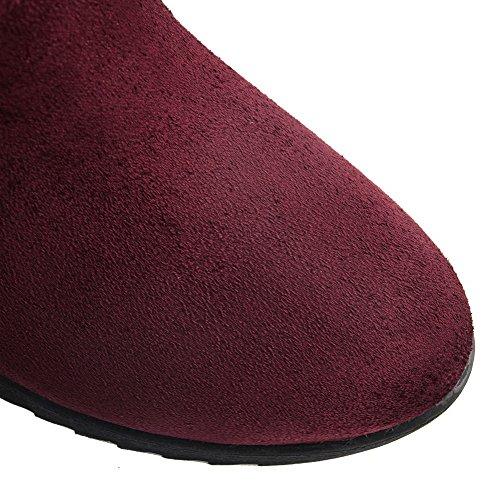 Allhqfashion Kvinners Kattunge Hæler Frostet Midt Oppå Solid Pull-on Boots Claret