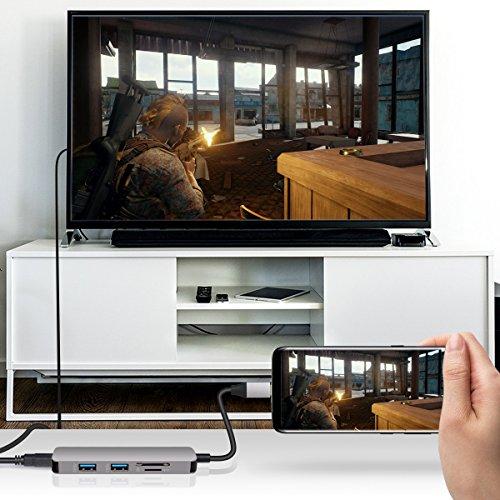 IBROCC USB C Adapter,USB C Hub HDMI Output, SD microSD Card Readers, 2 USB 3.0 Ports MacBook Pro 2017/2016, Google Chromebook Pixel, Samsung S8/S8 Plus -Gray by IBROCC (Image #2)