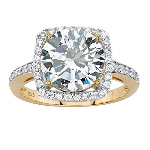 Round White Cubic Zirconia 14k Gold-Plated .925 Sterling Silver Halo Cocktail Ring - Ladies Cocktail Ring Gold Plated