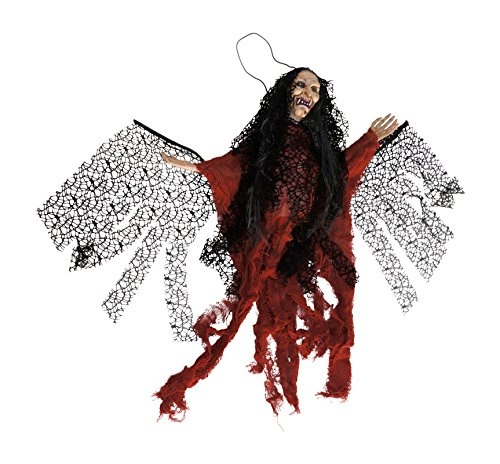 Animated Winged Witch with Sound and LED Eyes Hanging Halloween Decoration (Orange) ()