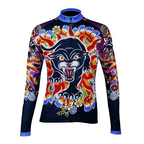 ILPALADINO Women's Cycling Jersey Long Sleeve Biking Shirts Animals Pattern (S, Panthers)
