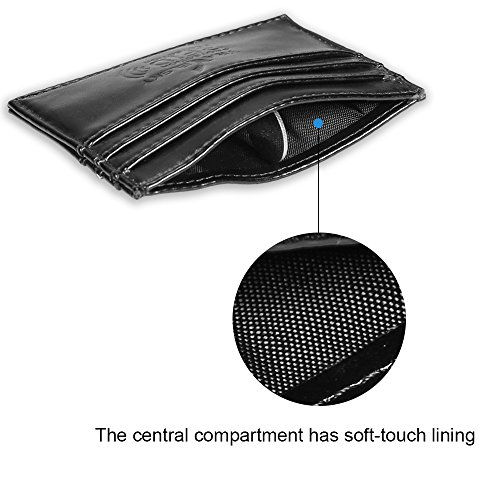 Card pu Wallet Black Aulola Slim ID with Credit Card Genuine Leather Holder Window Case aOxqX5