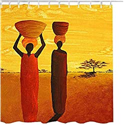 UniTendo Unique Character Style Water-Repellent Polyester Shower Curtain with 12 Hooks for Bathroom Decor,Mildew Free,72 x 72 inches,African Lady