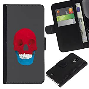 // PHONE CASE GIFT // Moda Estuche Funda de Cuero Billetera Tarjeta de crédito dinero bolsa Cubierta de proteccion Caso Samsung Galaxy S4 Mini i9190 / Red & Blue Skull - Pop Art /