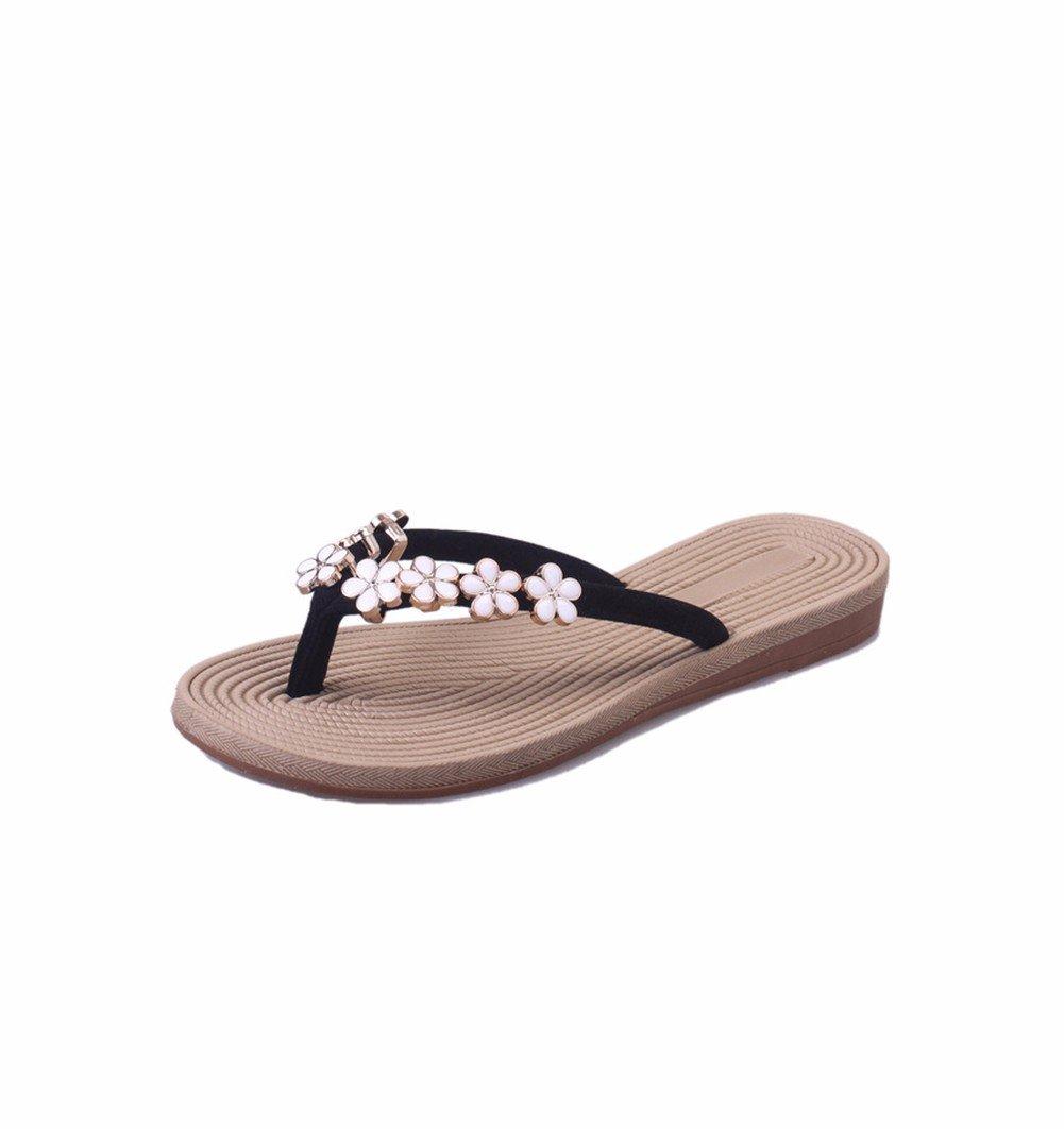 YUCH Chaussons Femmes Chaussons Fleurs Anti-Slip Flat Femmes Flat Sandals Black 469eaf3 - digitalweb.space