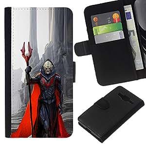 Supergiant (Demon Character Red Cape Monster Death) Dibujo PU billetera de cuero Funda Case Caso de la piel de la bolsa protectora Para Samsung Galaxy Core Prime / SM-G360