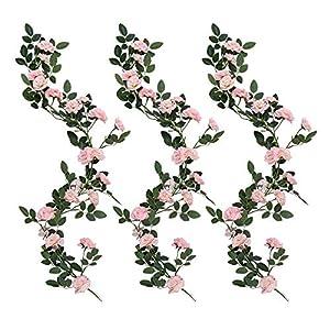 YUYAO 3PCS(9.9FT) Artificial Rose Vines Fake Silk Flower Garlands Plant Hanging Rose Vine Garland Wedding Home Garden Arch Arrangement Decoration 101