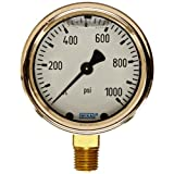 WIKA 9310770 Industrial Pressure Gauge, Liquid-Filled, Copper Alloy Wetted Parts, 2-1/2