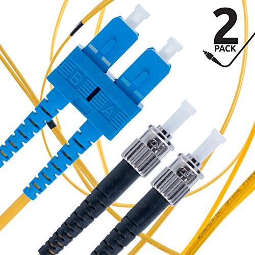SC to ST Fiber Patch Cable Single Mode Duplex - 3m (9.84ft) - 9/125um OS1 (2 Pack) - Beyondtech PureOptics Cable Series