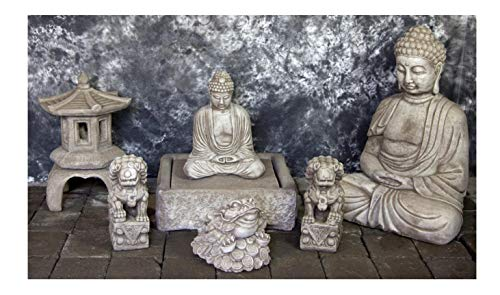 Lantern Oriental Garden Fountain - Fleur de Lis Garden Ornaments LLC Sitting Buddha Fountain with Kamakura Oriental Lantern and Ch'an Chu Package Number 1095