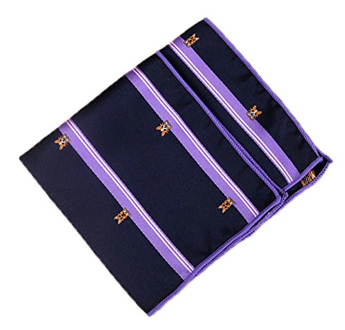 Flairs New York Pet Lovers' Collection Pocket Square (Midnight Blue / Purple Bands [Yorkshire Terrier]) ()