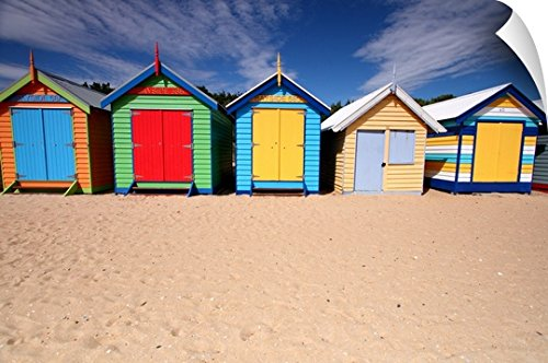 Canvas On Demand Wall Peel Wall Art Print entitled Melbourne beach huts in Australia. - Huts Beach Melbourne