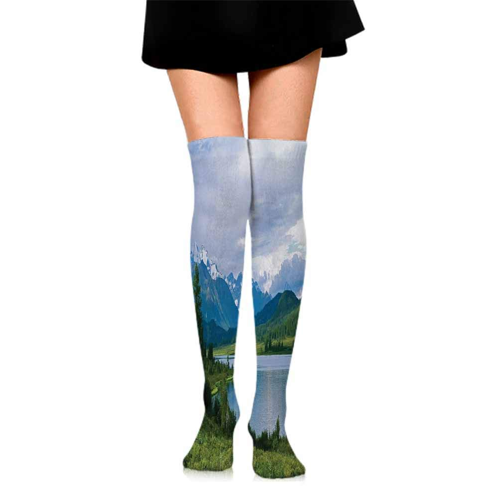 Funny Socks For Male Nature,Belukha Mountain by the Lake Surrounded Mountain with Snowy Peaks Print,Fern Green Light Blue,socks men pack
