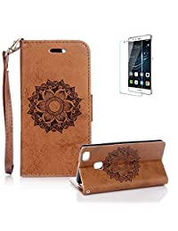 For Huawei P9 Lite Case [with Free Screen Protector], Funyye Classic Premium Folio PU Leather Wallet Magnetic Flip Cover and [Credit Card Holder Slots] Mandala Flower Patterns Design Protective Case Cover for Huawei P9 Lite-Brown