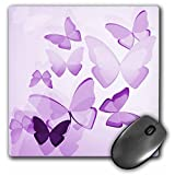 3dRose LLC 8 x 8 x 0.25 Inches Mouse Pad, Pretty Transparent Purple Butterflies (mp_101505_1)