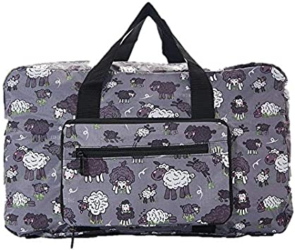 Eco Chic Cute Sheep Folding Holdall Travel Weekend Cabin Bag Lightweight Gift