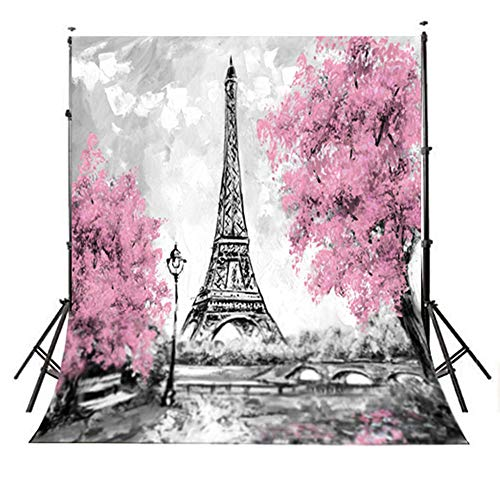 TMOTN 5x7ft Gray Paris Photography Backdrop Pink Flowers Trees Eiffel Tower Backgrounds Wedding Photo Booth Prop ()