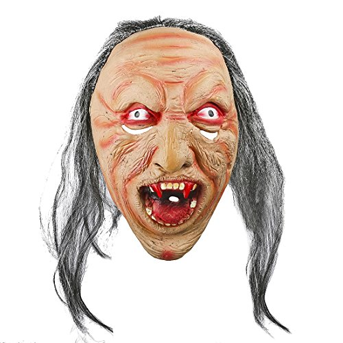 Killer Clown Prank Costume (Horror Evil Clown Adult Halloween Costume Laxtex Mask with Hair ,Cosplay Decor)