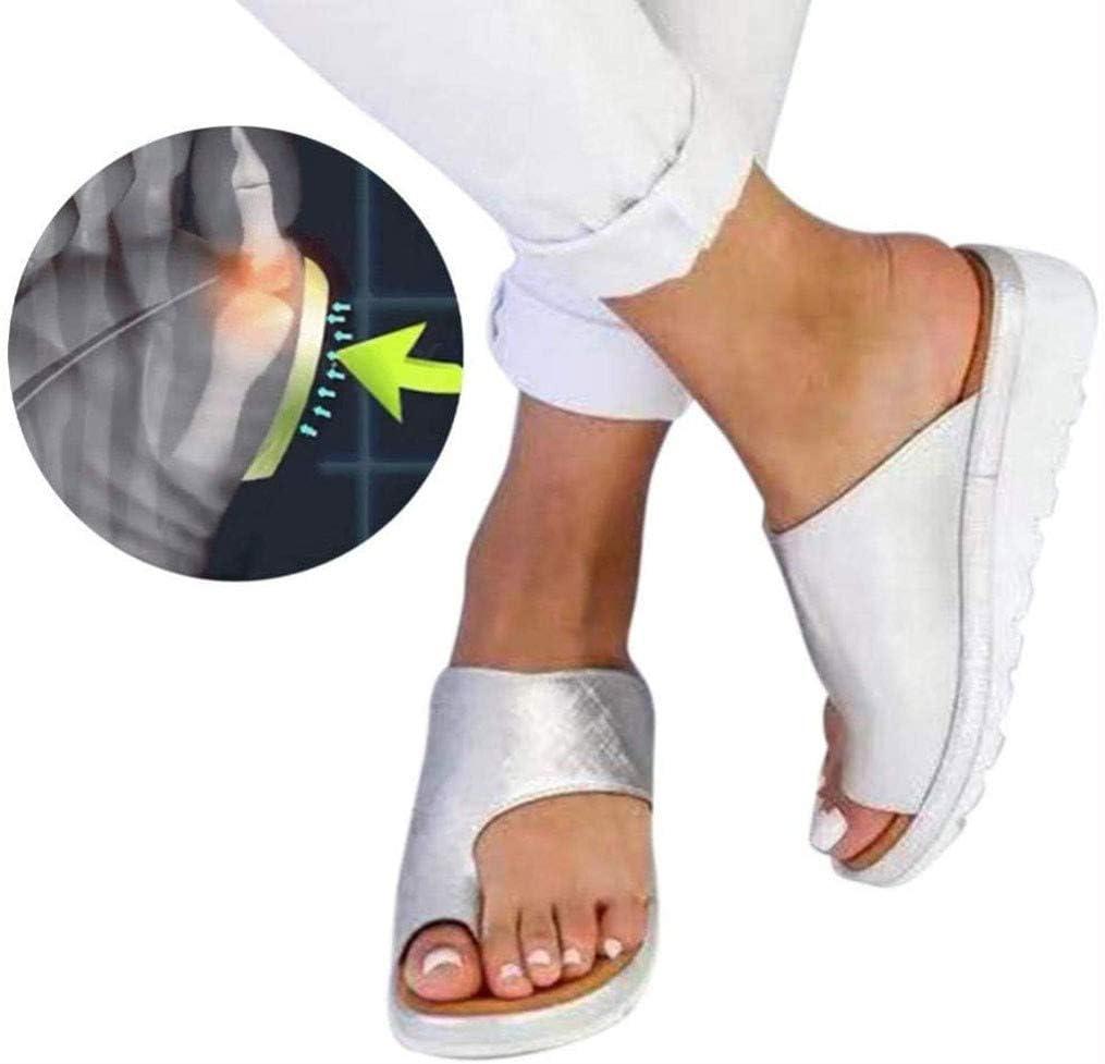 Aupast Sandalias de Piel sintética Chanclas para Mujer con Clip en los Dedos y cuña,Moda Sandalias Cómodas Damas Zapatos Plataforma Romanas Verano Playa Viajes Zapatillas 41 EU