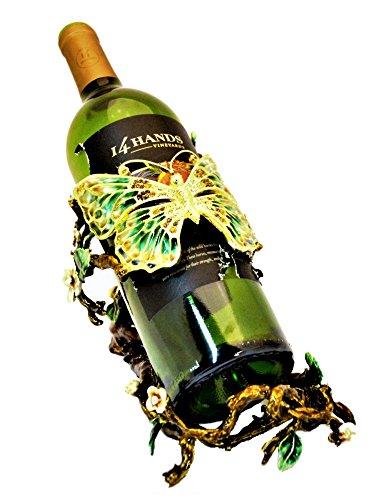 (Ciel Collectables Butterfly Design Wine Bottle Holder Enamel on Pewter Set with Swarovski Crystals)
