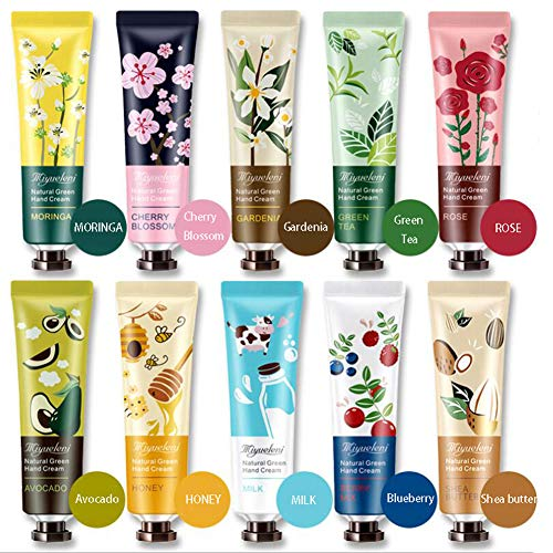 Ownest 10 Pack Plant Fragrance Hand Cream Moisturizing Hand Care Cream Travel Gift Set With Natural Aloe And Vitamin E For Men And Women-30ml ()