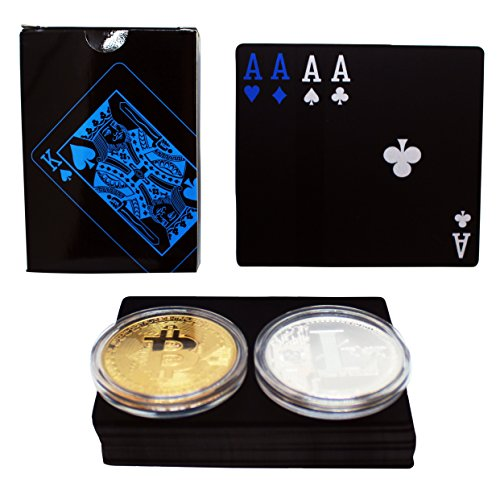 Crypto Gift Sets Bitcoin & Litecoin Poker Chip Guard Cover + Bonus Deck of Black Waterproof PVC Playing Cards