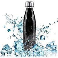 W-top Botella de Agua Deportiva de Acero Inoxidable, 500ml Doble Pared Aislada al Vacío Botella Térmica Deportes al Aire…