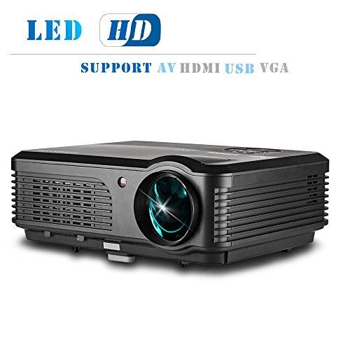 LCD Beamer, LED Lampe, Heimkino Projektor, Videoprojektor, mit 2800Lumen unterstützt 1080p HDMI/VGA/USB/ATV/Ypbpr für DVD iPad iPhone Android Smartphone (CAIWEI A6 Projektor schwarz)