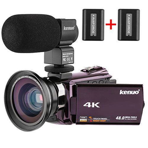 Kenuo 4K Camcorder, 48MP Portable Ultra-HD 30FPS WiFi Digital Video Camera 3.0″ Touch Screen IR Night Vision Camcorder with External Microphone and Wide Angle Lens