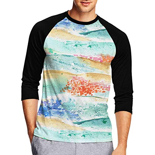 Mens 3/4 Sleeve Shirts, Casual Texas Modern Wildflower Field Pattern 100% Polyester Blouses for Men