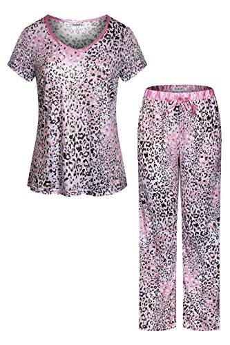 SofiePJ Women's Stretchy V Neck Short Sleeve Long Pants Pajama Set Light Pink M (Leopard Pants Lounge)