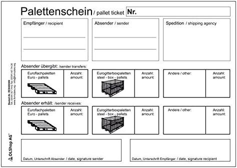 3er Pack Palettenscheine Lademittelnachweis Deutsch/Englisch DIN A5 quer (210 x 148 mm) 3 Blöcke á 25 Satz 4-fach selbstdurchschreibend Lademittelschein Ladeschein Palettennachweis