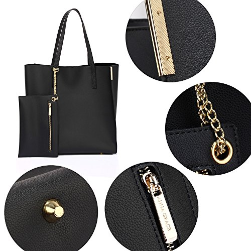 Handbags With Celebrity Faux Bags Shoulder Tote New Womens Design Ladies Pouch Style Removable 1 Black Large Leather nfx4wTpq
