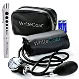 White Coat Deluxe Aneroid Sphygmomanometer Professional Blood Pressure Cuff Monitor with Adult Sized (Sphyg w Pen Light)