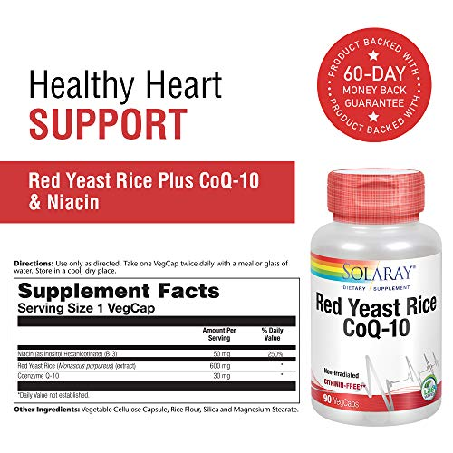 Solaray Red Yeast Rice COQ-10 VCapsules, 90 Count